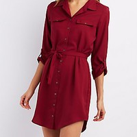 BELTED BUTTON-UP SHIRT DRESS