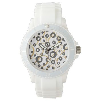 Contemporary Gold and Black Circles Patterned Wristwatch