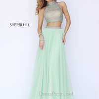 Two Piece High Neck Beaded Sherri Hill Prom Dress 11220