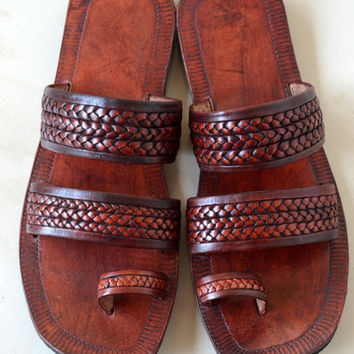 Moroccan Inspired Double Braided Leather Sandals-Handmade Sandals , Indian Leather Sandals, Ladies, Mens, Custom made - ALL SIZES