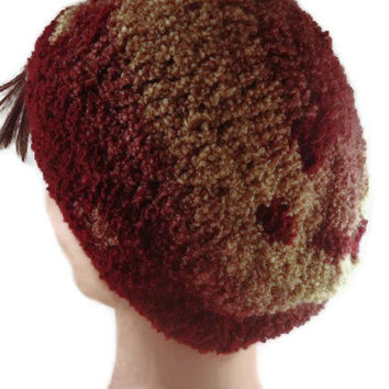 Slouchy Beanie, Hand Crocheted Great Patterning Effects Camel to Red