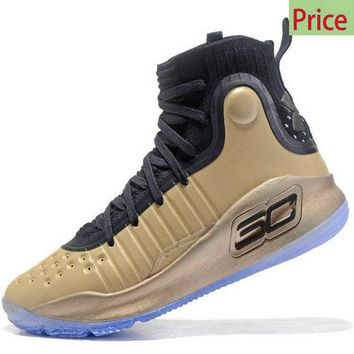 New Arrival 2018 Mens Under Armour Curry 4 Mid Basketball Shoes Gold Black sneaker
