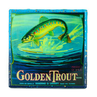 * Stella Divina * | Handmade Coaster Golden Trout Brand - Vintage Citrus Crate Label - Handmade Recycled Tile Coaster | Online Store Powered by Storenvy