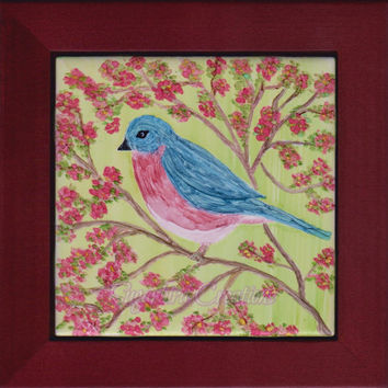 Bluebird Alcohol Ink Painting on Ceramic Tile with Rosewood frame or Black Stand