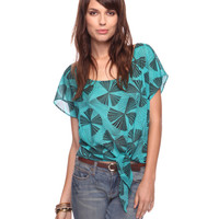 Knotted Fan Print Top