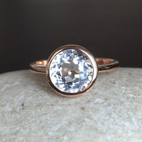 9k Rose Gold Topaz Ring- Promise Ring- Engagement Ring- Wedding Ring- Gemstone Ring- Bezel Ring- Bridal Ring- White Topaz Ring- Rose Gold