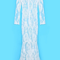 Long Sleeves Lace Maxi Dress in White