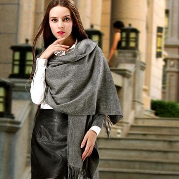 CREYU3C Women Fashion Winter Gray Cashmere Scarf Long Casual Pure Color Warm Wraps Plaid Mufflers Shawls Stoles Blankets Outfit Wear