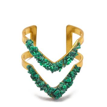 Malachite Double V Ring