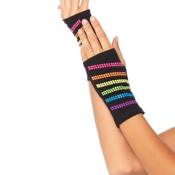 Rainbow Stud Fingerless Gloves (One Size,Multicolor)