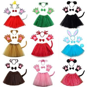 Kid Animal costume rabbit mouse monkey bear wolf frog fox pig gloves headband tutu Halloween party cosplay girl dress cartoon