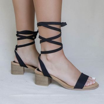 Toni Lace Up Black Strappy Heel