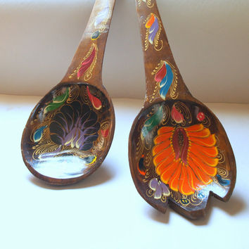 RETRO TROPICAL FLORAL Wooden Hand Painted in Mexico Giant Vintage Wood Fork and Spoon Wall Hanging Set Bright Colorful Flower Pattern
