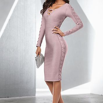 Slimming lace up dress, strappy heel