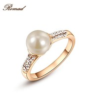 Romad 100% Genuine Simulate-Pearl Ring Elegant Purple Ring For Women Silver Color Jewelry For Halloween