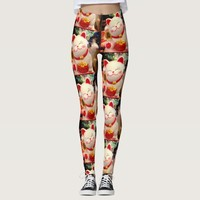 Fun, Cute Chinese Good Luck Waving White Cat Photo Leggings