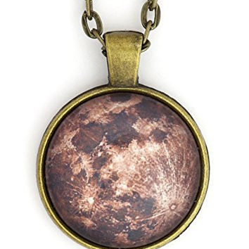 The Moon Necklace Gold Tone Outer Space Lunar Photo Pendant NX65 Fashion Jewelry
