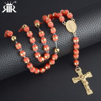 RIR Men Women Bead Chain pray Jesus Christ Cross Stainless Steel Pendant Crown Rosary Pendant Long Necklace Unisex Jewelry gifts