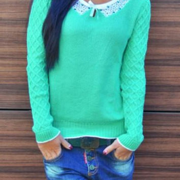 Color Block Printed Neck Bowknot Knitted Sweater