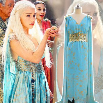 game of thrones daenerys targaryen costume blue cosplay dress fantasia dragon wig halloween costumes for women dress plus size