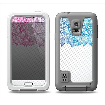 The Vibrant Vintage Polka & Sketch Pink-Blue Floral Samsung Galaxy S5 LifeProof Fre Case Skin Set