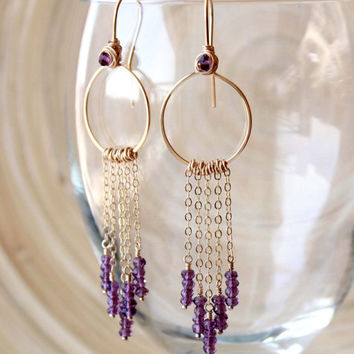 Gold filled Amethyst fringe Earrings, Long Prom earrings, Boho gemstone earrings, spring style, Red carpet, February birthstone, Resort