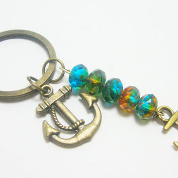 Nautical Bronze Anchor Keychain with Green Picasso Czech Glass Beads