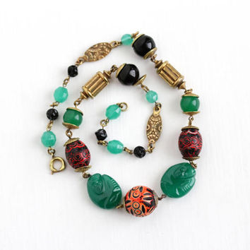 Vintage Art Deco Tribal Brass & Glass Bead Necklace - 1930s Unique Colorful Green Black Beaded Statement Ape Monkey Boho Costume Jewelry