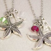 2 Best Friends Necklaces |Gift for Best Friend | Starfish Charm Necklaces | Personalized Birthstone Jewelry | Best Friend Gift