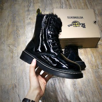 Best Online Sale Newest Dr. Martens Modern Classics 1460 Patent Leather Plus Cashmere Boost Black Yellow 524960