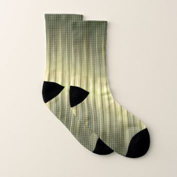 Abstract Golden Green Steady Lights Pattern Socks