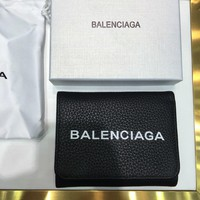 Kuyou Balenciaga Fashion Women Men Gb49619 Zipper Lychee Leather Wallet