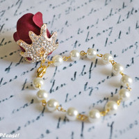Rose Bracelet Bridesmaid Bracelet Flower Girl Bracelet Ivory Pearl Bracelet Red Rose Rhinestones Bracelet Gold Jewelry- Handmade