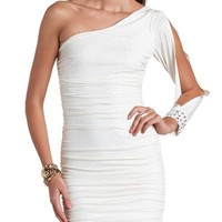 Ruched One Shoulder Glitter Dress