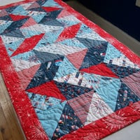 Patriotic Table Runner Red White Blue Stars Labor Day Freedom Land of the Free Quilted Quiltsy Handmade Fireworks FREE U.S. Shipping