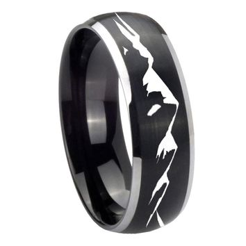 8MM Matte Brush Black Dome Sound Wave I love you 2 Tone Tungsten Laser Engraved Ring