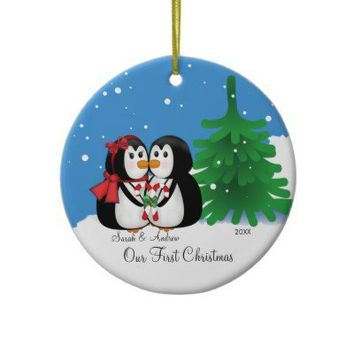 Penguin Couple Our First Christmas Ornament from Zazzle.com