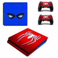 Avengers Spiderman PS4 Slim Skin Sticker Vinyl For Sony PlayStation 4 Console and 2 Controllers PS4 Slim Skin Stickers Decal