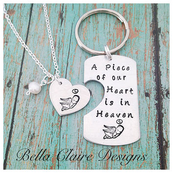 Miscarriage Necklace set Baby Loss, Infant loss Jewlery Miscarriage keychain mommy of an Angel Daddy of an Angel Necklace, A Piece Of our