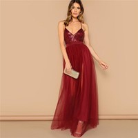 Sexy Burgundy Crisscross Open Back Sequin Patched Strappy Long Dress Women Solid Fit and Flare Mesh Party Dresses