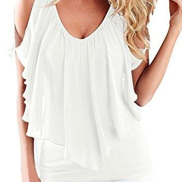 AlvaQ Womens Summer Cold Shoulder V Neck Front and Back Top Blouses SXXL