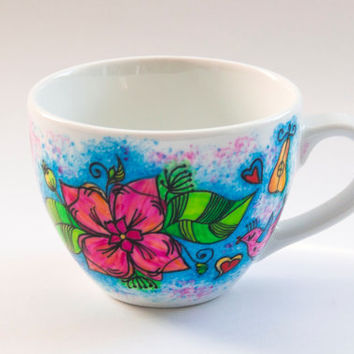 Flower Mug with a Name. Hand Painted Mug with Vivid Colors. Unique Gift Idea.