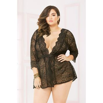 Seven til Midnight Queen Plus Size Sheer Scalloped Lace Trim Robe