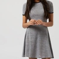 Grey Ribbed Trim Skater Dress