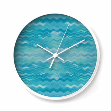 Gentle Waves Wall Clock in turquoise and aqua
