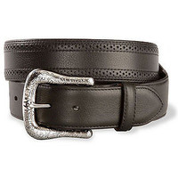 Ariat Men's Perforated Edge Western Leather Belt-Black
