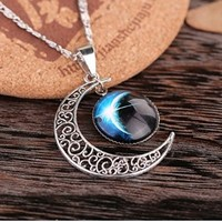 Beancase(TM) Galaxy Star Crescent Moon Time Gem Pendant Necklace