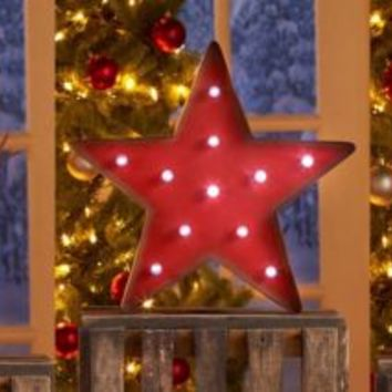 Metal Lighted Holiday Marquee Mantle Shelf Christmas Home Decor Wall Sculpture