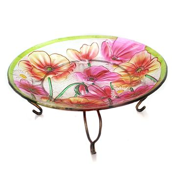 Home & Garden POPPIES BIRDBATH W/STAND Glass Flower Daisy 2Gb680s