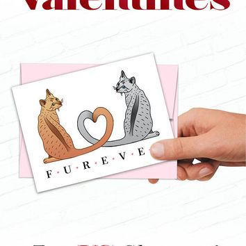 Cat Valentine, Cute Cat Valentines Day Card, Illustrated Valentine, Hand Drawn Cats, Sweet Valentine Cards, Siamese Cats Valentine, Heart